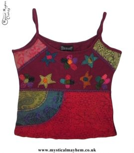 Cotton Hippy Style Embroidery Flower Vest Top Burgundy