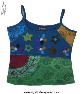 Cotton Hippy Style Embroidery Flower Vest Top Dark Teal