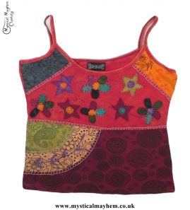 Cotton Hippy Style Embroidery Flower Vest Top Red