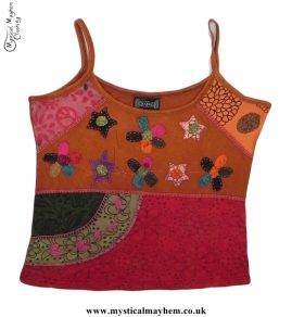 Cotton Hippy Style Embroidery Flower Vest Top Rust