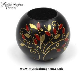 Hand Painted Wooden Thai Tea Light Holder with Tree of Life Design