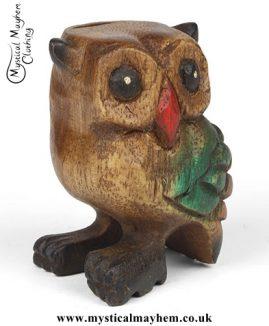 Mini Handmade Acacia Wood Hooting Owl Instrument