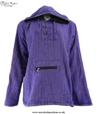 Nepalese Cotton Fleece Lined Pixie Hooded Top Purple
