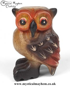 Small Handmade Acacia Wood Hooting Owl Instrument