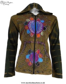 Two Suns Nepalese Cotton Embroidery Hippy Festival Jacket Olive