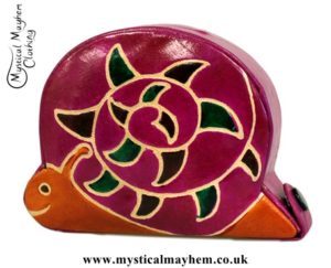 Handmade Leather Money Box Small Pink Snail