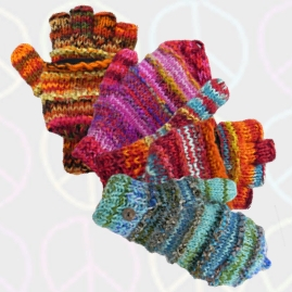 Two in One Fingerless and Mitten Wool Gloves