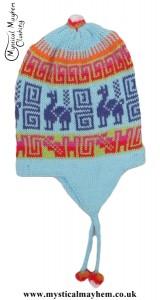 Peruvian Chullo Ear Flap Alpaca Wool Hat Baby Blue