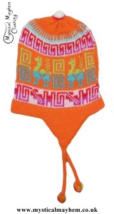 Peruvian Chullo Ear Flap Alpaca Wool Hat Orange
