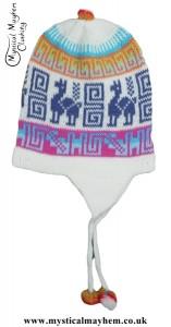 Peruvian Chullo Ear Flap Alpaca Wool Hat White