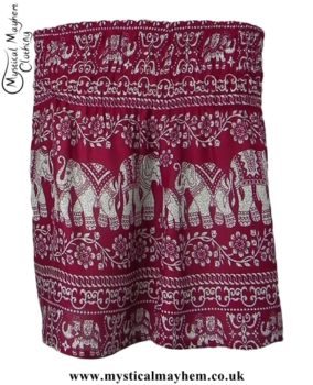 Short Thai Elephant Hippy Mini Skirt Burgundy