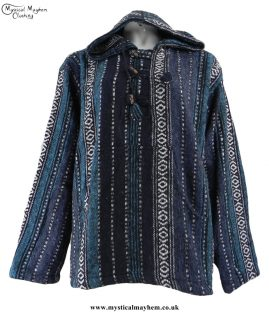 Thick Weave Cotton Hippy Festival Pullover Top Blue Mix