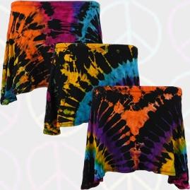 Tie Dye Hippy Short Skirt with Elastic Waist UK 8-10