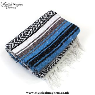 Blue, White and Black Mexican Falsa Blanket, Rug, Throw, Bed Spread, Picnic Blanket