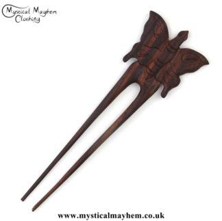 Butterfly wooden hippy Hair Fork
