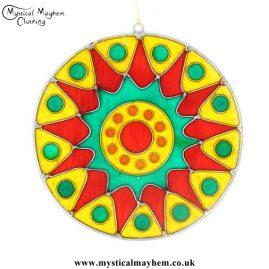 Colourful Bursting Sun Resin Suncatcher Yellow, Red, Green