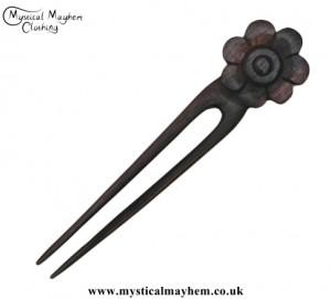 Daisy Flower wooden hippy Hair Fork