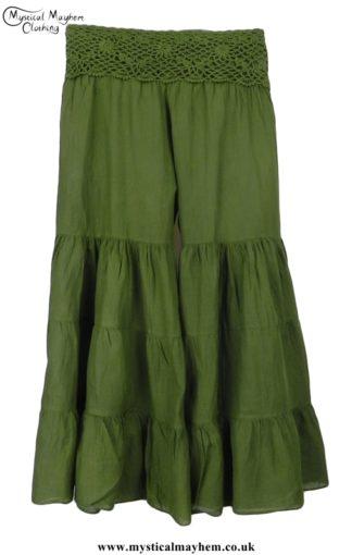 Hippy Crochet Cotton Baggy Flares Green