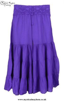 Hippy Crochet Cotton Baggy Flares Purple