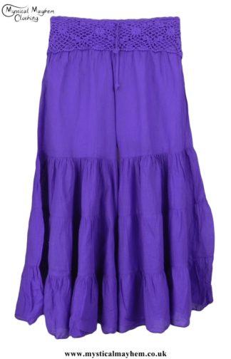 Hippy Crochet Cotton Baggy Flares Purple