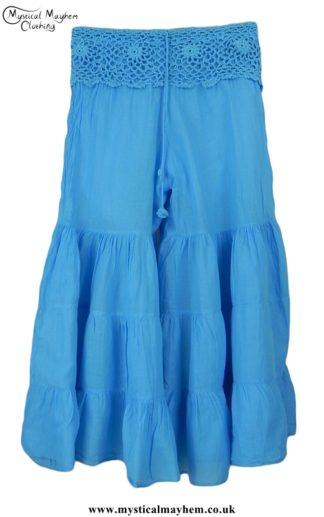 Hippy Crochet Cotton Baggy Flares Turquoise