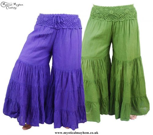 Hippy Crochet Cotton Baggy Flares on Person