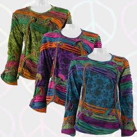 Long Sleeve Embroidery Mushroom Shirts