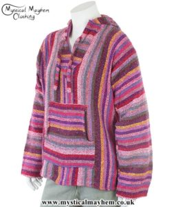 Mexican Jerga Baja Hooded Hippy Festival Top Pink mixed Colour