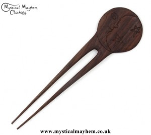 Moon and Stars wooden hippy Hair Fork