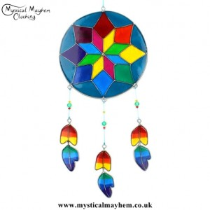 Multicoloured Colourful Dreamcatcher Style Resin Suncatcher