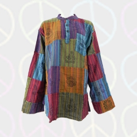 Multicoloured Patchwork Grandad Shirts