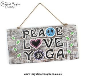 'Peace Love Yoga' Handmade Wooden Plaque