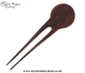 Peace Sign wooden hippy Hair Fork