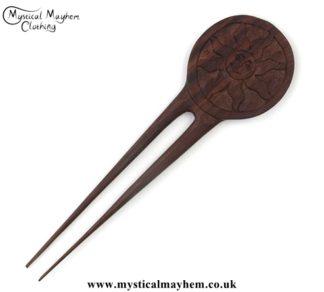 Smiley Sun wooden hippy Hair Fork