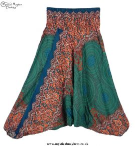 Teal and Green Pattern Harem Ali Baba Hippy Trousers