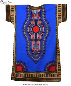 Blue and Red Coloured Long Cotton Thai Kaftan Dress Unisex