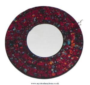 Fair Trade Dark Red Coloured Round Handmade Mosaic Mirror 20cm