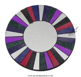 Fair Trade Glitter Round Handmade Mosaic Mirror 20cm