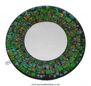 Fair Trade Green Coloured Round Handmade Mosaic Mirror 20cm