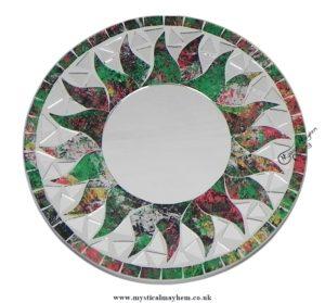 Fair Trade Green and Red Sun Round Handmade Mosaic Mirror 20cm