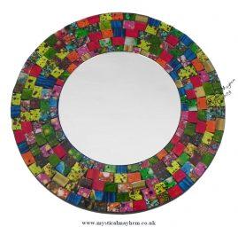 Fair Trade Multicoloured Round Handmade Mosaic Mirror 30cm