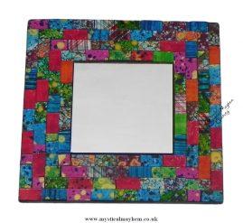 Fair Trade Multicoloured Square Handmade Mosaic Mirror 20cm