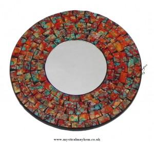 Fair Trade Orange Coloured Round Handmade Mosaic Mirror 20cm