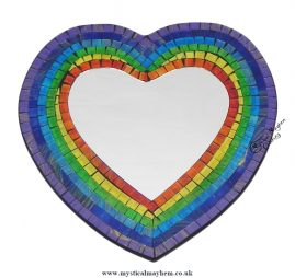 Fair Trade Rainbow Coloured Heart Handmade Mosaic Mirror 29cm x 29cm