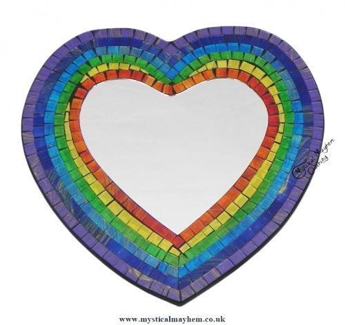 Fair Trade Rainbow Coloured Heart Handmade Mosaic Mirror 29cm x 29cm
