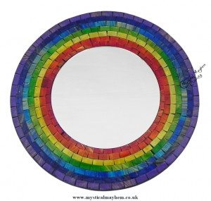 Fair Trade Rainbow Coloured Round Handmade Mosaic Mirror 30cm