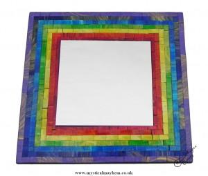 Fair Trade Rainbow Coloured Square Handmade Mosaic Mirror 30cm x 30cm
