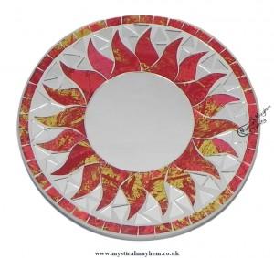 Fair Trade Red Sun Round Handmade Mosaic Mirror 20cm