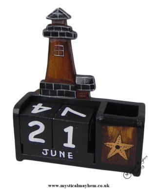 Handmade Wooden Calendar Black Lighthouse