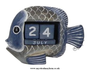 Handmade Wooden Calendar Blue Fish